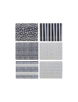 Shibori Placemat Assorted 34x27cm Set Of 6 Gift Boxed