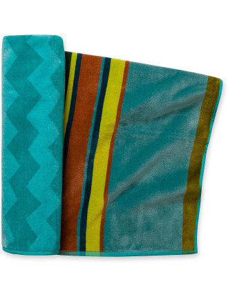 Teal Chevron Beach Towel