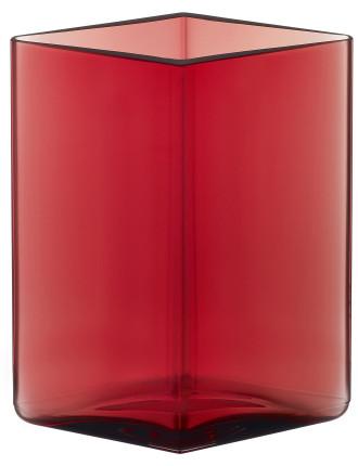 Ruutu Vase 11.5x14cm Cranberry