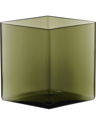Ruutu Vase 20.5x18cm Moss Green