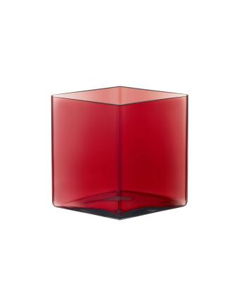 Ruutu Vase 20.5x18cm Cranberry