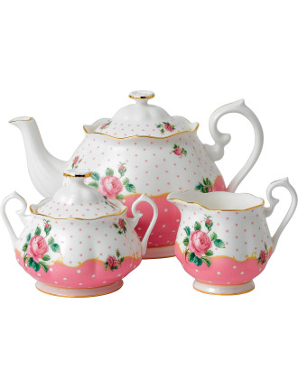 Cheeky Pink Teapot/Sugar/Cream Set