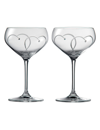 Promises Collection Two Hearts Champagne Saucer Box of two