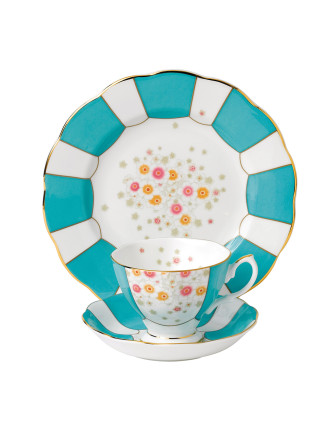 Royal Albert 100 Years 1930 Mint Deco Teacup, Scr & Plate