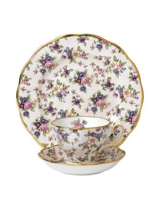 Royal Albert 100 Years 1940 English Chintz Teacup, Scr & Plt