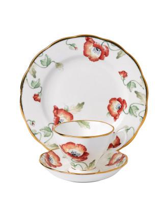 Royal Albert 100 Years 1970 Poppy Teacup, Saucer & Plate