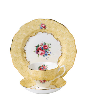 Royal Albert 100 Years 1990 Bouquet Teacup, Saucer & Plate
