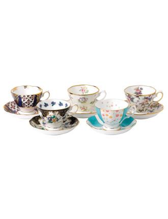 Royal Albert 100 Years 1900-1940 Set of 5 Teacups & Saucers