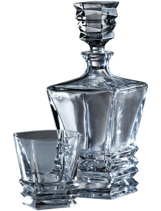 Crystal Prism Decanter Set (Set of 4 Tumblers)