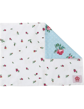 Polka Blue/Rose Buds Single Placemat