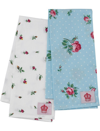Polka Blue/ Rose Buds Set of 2 Tea Towels