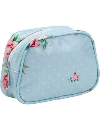 Polka Blue Make Up Bag