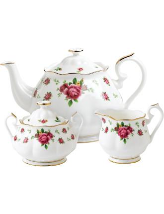 New Country Roses White Teapot/Sugar/Creamer