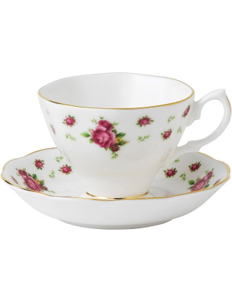 New Country Roses White Teacup/Saucer