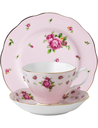 New Country Roses Pink Teacup/Saucer/Plate Set