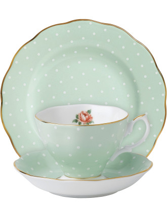 Polka Rose Teacup/Saucer/Plate Set