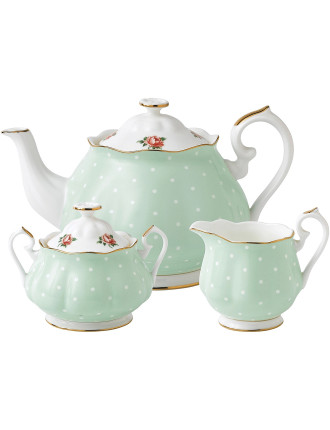 Polka Rose Teapot/Sugar/Creamer Set