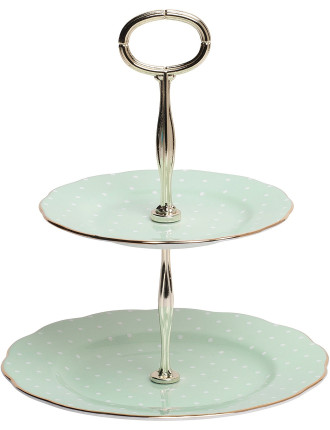 Polka Rose 2 Tier Cake Stand