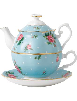 Polka Blue Tea for One