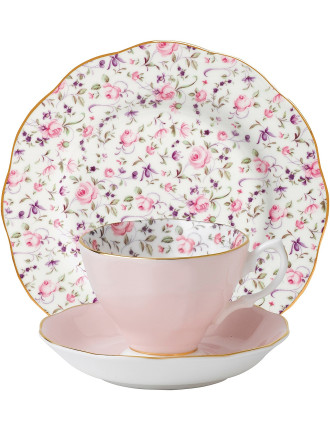 Rose Confetti Teacup/Saucer/Plate Set