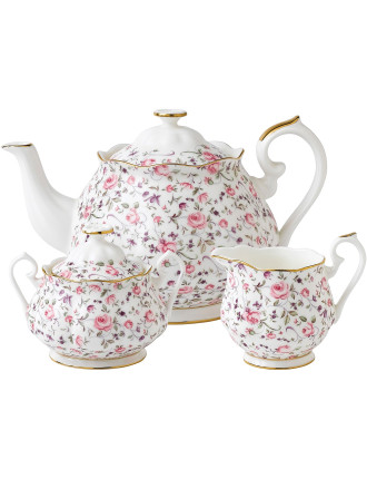 Rose Confetti Teapot/Sugar/Creamer Set