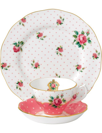Cheeky Pink Teacup, Saucer, Plate
