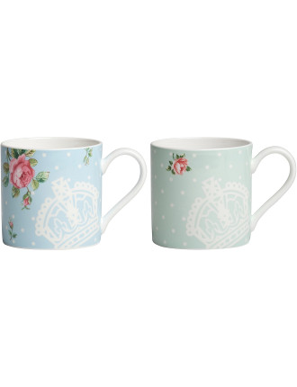 Set of 2 Mugs Polka Rose/Polka Blue