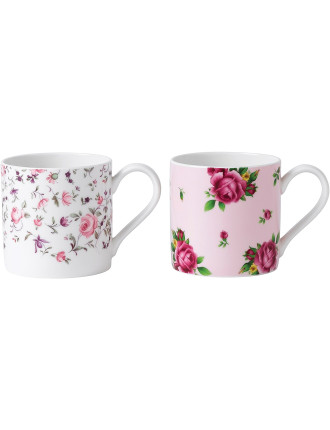 2 Mugs Rose Confetti/New Country Roses Pink