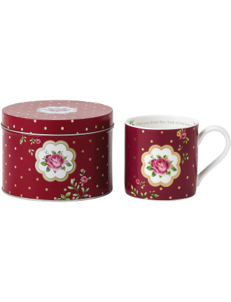 Mug in Tin New Country Roses White