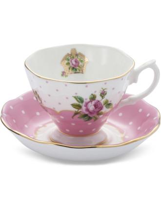 Mixed Set of 4 Teacups & Saucers