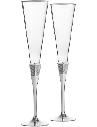 Waterford Lismore Diamond Silver Toasting Flute Pair