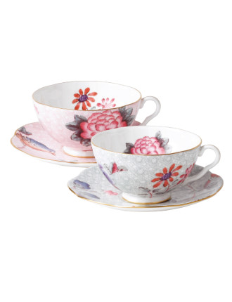 Cuckoo Teacup and Saucer Set of 2