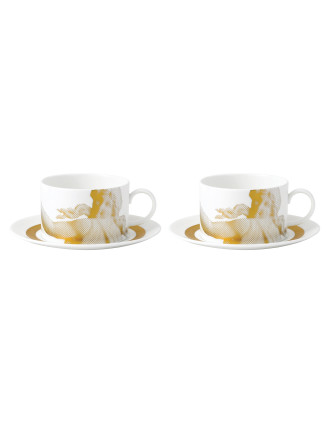 Wedgwood Gilded Muse Teacup & Saucer Set of 2