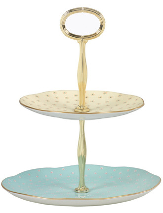 Polka Dots Two Tiered Cake Stand