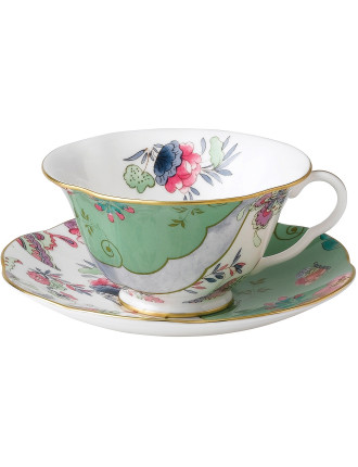 Butterfly Bloom Green Teacup and Saucer