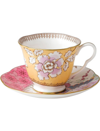 Butterfly Bloom Yellow Teacup and Saucer