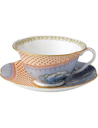 Butterfly Bloom Blue Teacup and Saucer