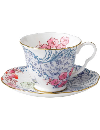 Butterfly Bloom Blue And Pink Teacup & Saucer
