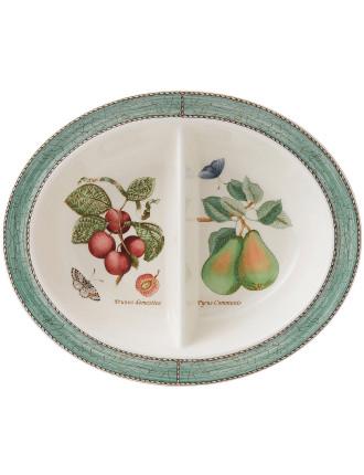 Sarah's Garden Oval Divided Dish Green 28cm