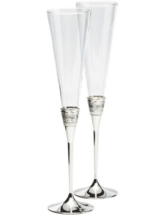 Vera Wang Wedgwood With Love Silver Toasting Flute Pair