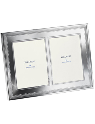 Vera Wang Wedgwood Grosgrain Silver Double Frame 5'X7'