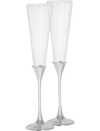 Lismore Bead Silver Toast Flute Pair