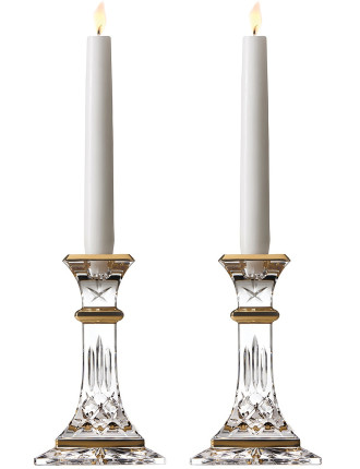 Lismore Giftware Gold 15cm Candlestick Pair