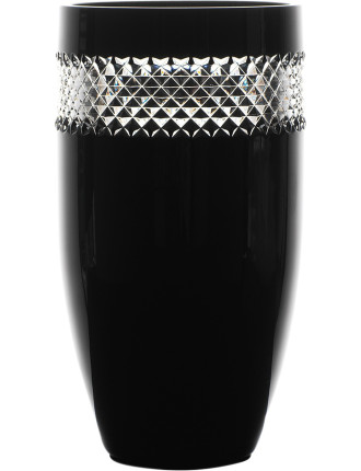 John Rocha Crystal Black Cut Giftware Vase 30cm