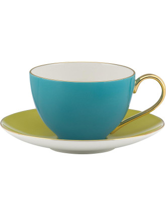 Greenwich Grove Cup & Saucer - Turquois & Yellow