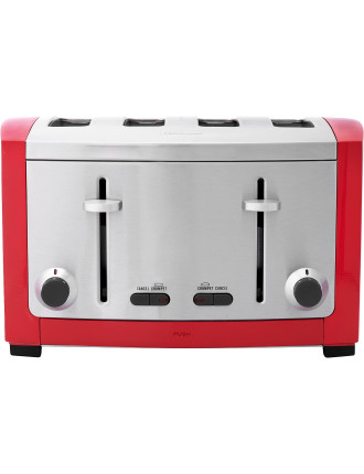 Red Cafe Series 4 Slice Toaster
