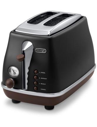 CTO2003VBK Icona Vintage 2 Slice Toaster Black