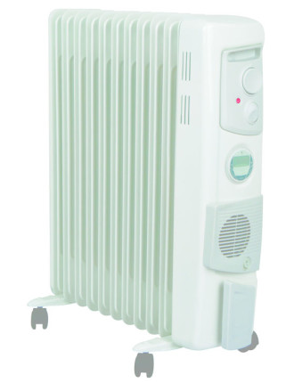 OFC2400TIFW 2.4kw Oil Column Heater W/Timer & Fan White