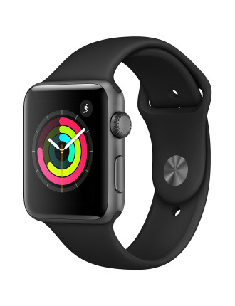 APPLE WATCH S3 42MM SPACE GREY W BLACK SPORT BAND MQL12X/A