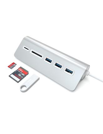 3-Port USB 3.0 Hub + Card Reader - Silver